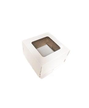 Коробка для торта с окном 20х20х10см гофрокартон