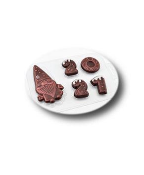 Пластиковая форма для шоколада, Дед Мороз 2021