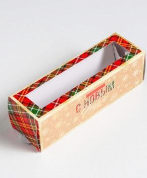 Коробка для макарун 18х5,5х5,5см С новым годом