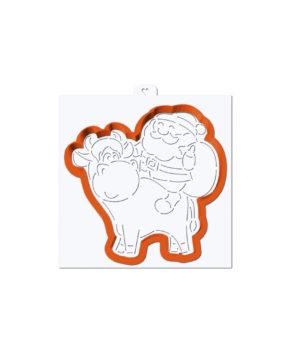 Вырубка+Трафарет Дед Мороз на быке