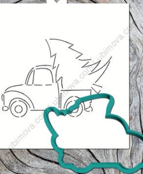 Вырубка+Трафарет Машина с Новогодней ёлкой