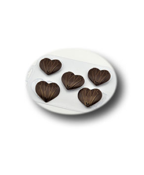 Пластиковая форма для шоколада, Мужское сердце 5ячеек