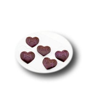 Пластиковая форма для шоколада, Женское сердце 5ячеек
