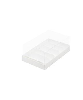 Коробка под муссовые пирожные и эклеры с пластиковой крышкой 22х13,5х7 см, белая