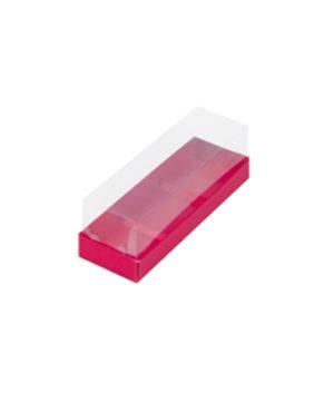 Коробка под муссовые пирожные с пластиковой крышкой красная 26х8,5х6 см, 3 ячеек