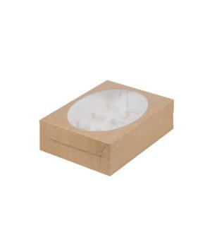 Коробка для капкейков с окном, 12 ячеек, крафт