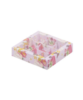 Коробка на 9 конфет с пластиковой крышкой, С Праздником
