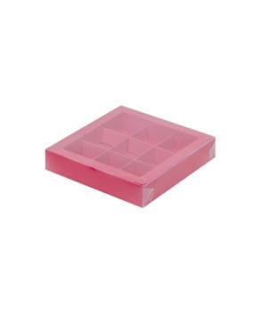 Коробка на 9 конфет с пластиковой крышкой, красная