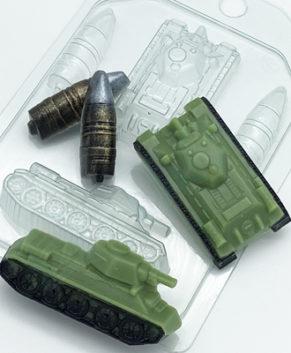 Пластиковая форма для шоколада Танк Т-34 Мини