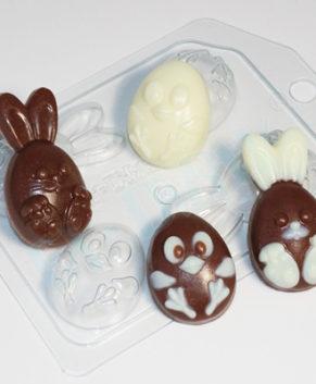 Пластиковая форма для шоколада Кролик и цыпленок Мини
