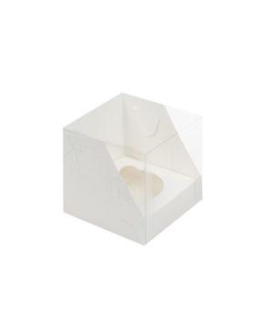 Коробка для капкейков с пластиковой крышкой, 1 ячейка, белая