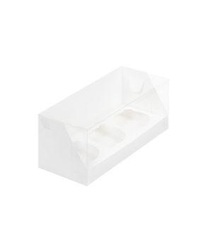 Коробка для капкейков с пластиковой крышкой, 3 ячейки, белая