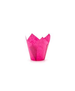 Форма для маффина Тюльпан Розовая 50х80мм, 20шт