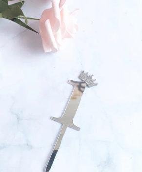 Топпер Цифра 1 с короной, серебро