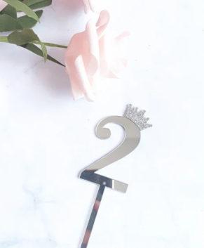 Топпер Цифра 2 с короной, серебро
