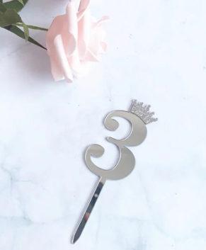 Топпер Цифра 3 с короной, серебро