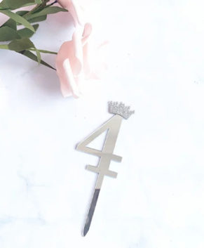 Топпер Цифра 4 с короной, серебро