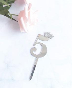 Топпер Цифра 5 с короной, серебро