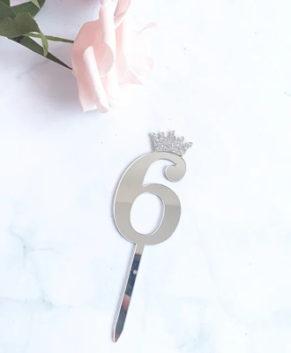 Топпер Цифра 6 с короной, серебро
