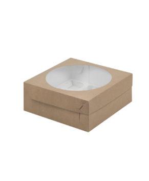 Коробка для капкейков с окном, 9 ячеек, крафт