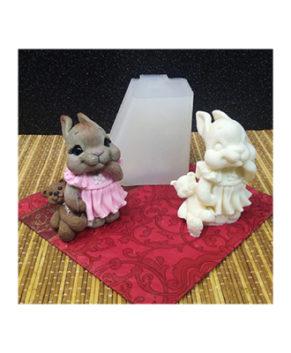 Молд силиконовый 3D Зайка с мишкой