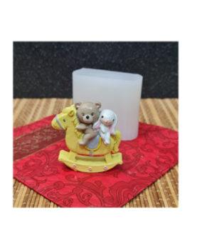 Молд силиконовый Мишка и зайка на качалке