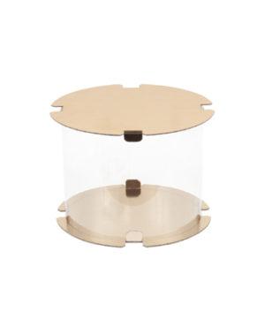 Коробка для торта прозрачная ТУБУС 30х30см белая/золото