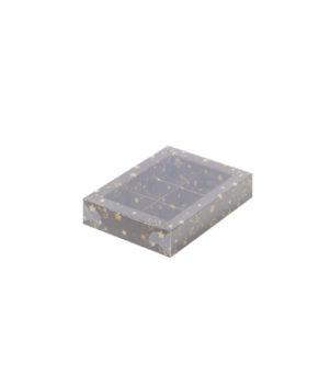 Коробка на 6 конфет с пластиковой крышкой, со звездами