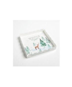 Коробка для пряников Winter hygge (Елки, Олени) 21х21х3см