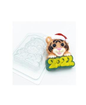 Пластиковая форма для шоколада Тигр в новогодней шапке