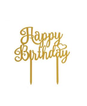 Топпер Happy Birthday с сердечком, золото