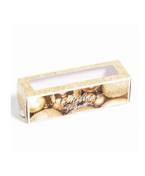 Коробка для макарун 18х5,5х5,5см Новогодние игрушки